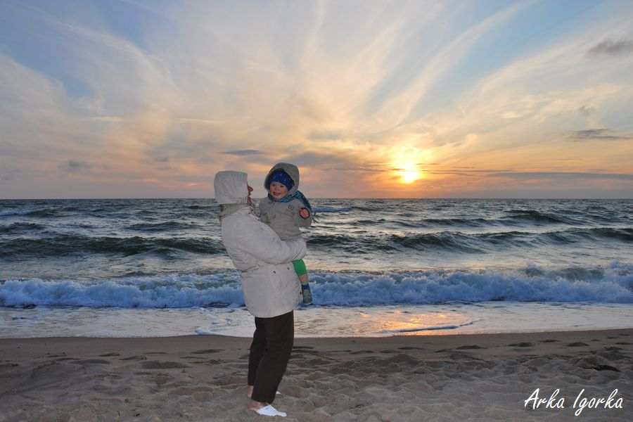 zachód słońca i babcia